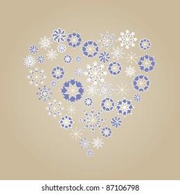 winter holiday snowflake heart