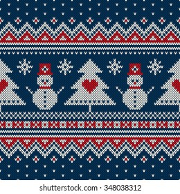 Winter Holiday Sweater Design. Seamless Knitting Pattern