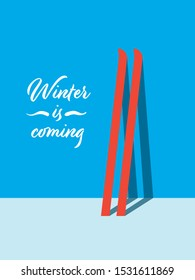 Winter holiday vector card template with skis against the wall. Skiing flyer, minimalist art design. Eps10 illustration.