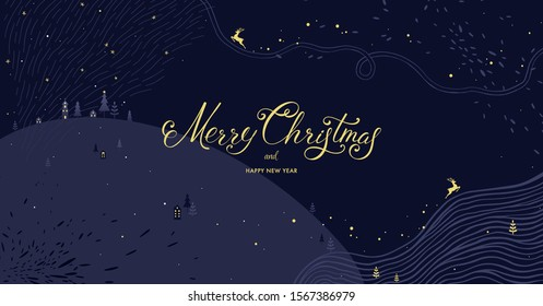 Winter Holidays banner design. Website or social media long header template for Christmas celebration with sparkles and space for text. Vector illustration.