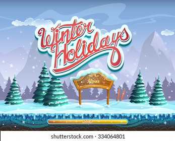 Winter holidays boot screen window for the computer game
