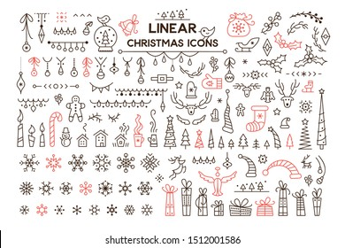 Winter holidays decoration vector linear illustrations set. Christmas season symbols. Black and red contour icons pack on white background. Snowflake, present isolated cliparts. New Year festive decor