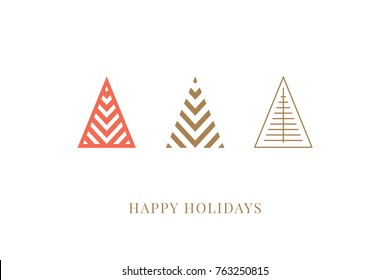 Winter holidays greeting card with decorative geometric Christmas trees. Merry Christmas and Happy New Year. Elegant template for postcards, invitations, banners. Vector illustration. EPS 10
