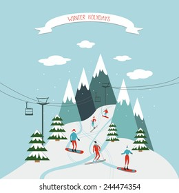 Winter holidays greeting card with ski resort picture.
