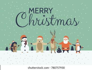 winter holidays greeting card; a vector illustration with cute cartoon animals; Merry Christmas background with a Christmas Polar Bear, Penguin, Santa Claus, Deer, Snowman, Hedgehog; flat design