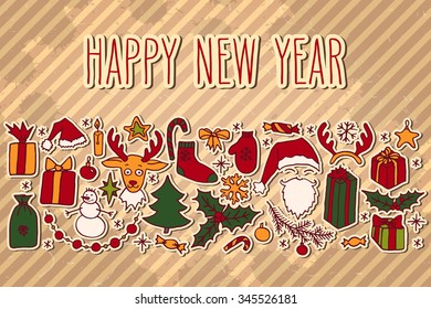 Winter holidays hand drawn doodle elements and Happy New Year greetings over vintage textured brown background.