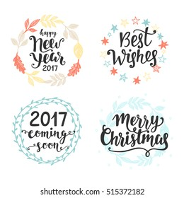 Winter holidays hand lettering set, isolated on white. Merry Christmas, Happy New Year, 2017 coming soon, Best Wishes. Typography design elements for greeting cards, invitations. Vector illustration