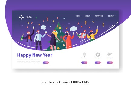 Winter Holidays Landing Page Template. Merry Christmas and Happy New Year Website Layout with Flat People Characters Celebrating. Easy to Edit and Customize Mobile Web Site. Vector illustration