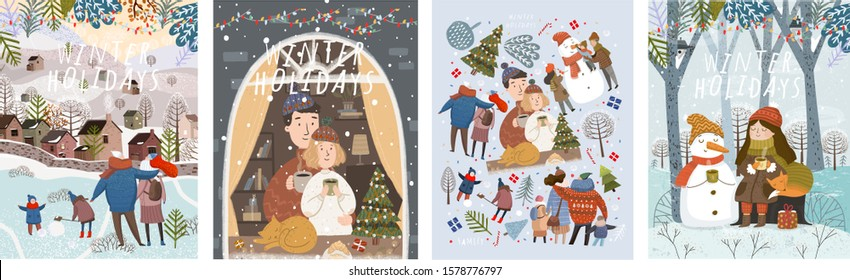 Winter holidays! Merry Christmas and happy new year! Vector cute illustrations of a family on nature, at home and in the city, fairy-tale characters in the forest and a set of isolated objects. Drawin