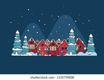 Winter holidays in the mountains concept banner. Snowy night in cozy christmas town city banner