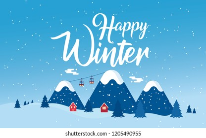 Winter holidays in the mountains concept banner. Snowy night in cozy Christmas town city banner. Cute red houses in snowdrifts