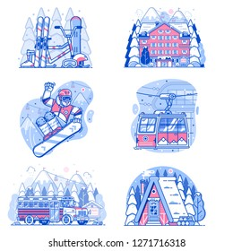 Winter holidays in mountains line illustrations. Skiing resort vacation scenes with snowboarder, funicular cable car, snow lodge cabin, skibus shuttle, ski hotel and snowboarding equipment.