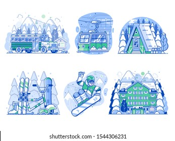 Winter holidays in mountains line illustrations and icons. Skiing resort vacation scenes with snowboarder, funicular cable car, snow lodge cabin, skibus shuttle, ski hotel and snowboarding equipment.