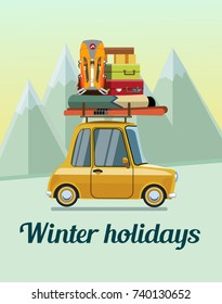Winter holidays. Winter holidays in the mountains. Trip on a winter vacation in the mountains. The trip by car on winter vacation in the mountains.  Flat design. Vector illustration Eps10 file