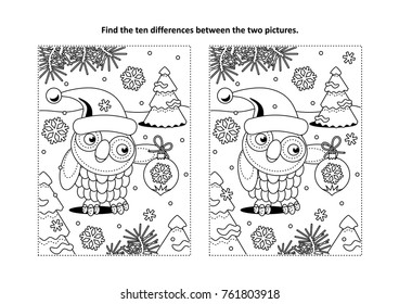 Winter holidays, New Year or Christmas themed find the ten differences picture puzzle and coloring page with owl wearing santa cap and holding beautiful ornament.