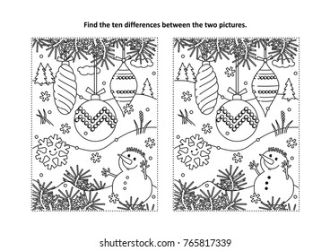Winter holidays, New Year or Christmas themed find the ten differences picture puzzle and coloring page with christmas tree ornaments and snowman.