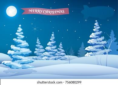 Winter holidays night template with snowy trees stars moon Santa deers ribbon vector illustration