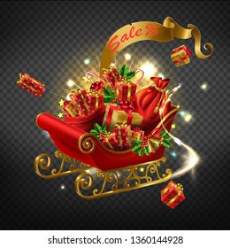 Winter holidays purchases, Christmas sale, New year gifts shopping promotion campaign 3d realistic vector concept with Santa sleigh loaded sacks with gift boxes illustration on transparent background
