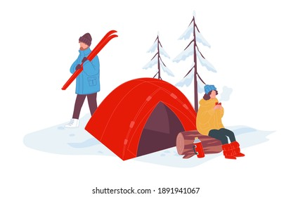 Winter holidays relaxation and rest, camping and staying in tent in woods. Male character walking with ski equipment for skiing. Woman sitting on log drinking hot tea or coffee. Vector in flat style