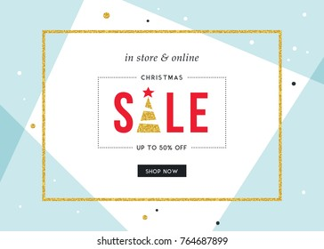Winter Holidays Sale banner. Horizontal template. Contemporary geometric background with bold typographic design, golden glitter frame and Christmas Tree. Vector illustration.