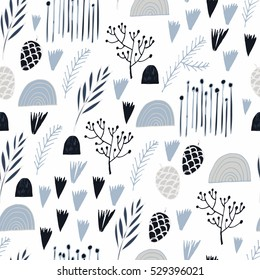 Winter Holidays seamless vector pattern. Nature elements and abstract shapes for party design.