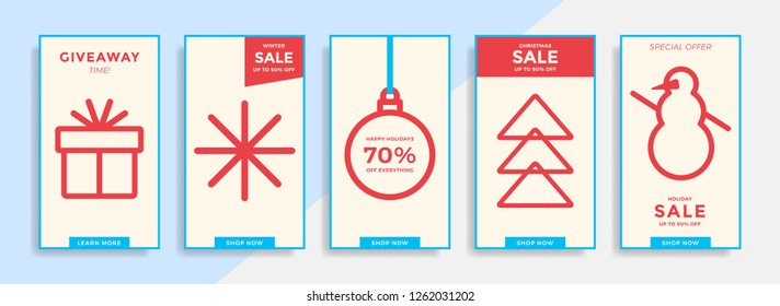 Winter holidays stories templates. Social media pack with colorful icons. Modern flat design for Christmas and New year sales. Vector illustration.