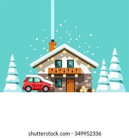 Winter holidays. Vacation on resort. House in forest. Vector illustration.
