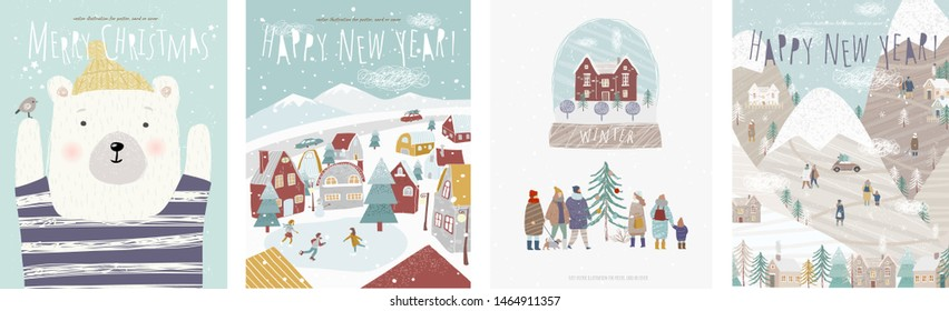 Winter holidays! Vector cute illustrations of nature, landscape, animal bear, houses, trees, family and people at the rink for the New Year and Christmas background\n