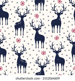 Winter Holidays Vector Seamless Pattern, Black Hand-Drawn Deer and Snowflakes on White Background. Christmas and New Year Pattern, Perfect for Wrapping Paper, Textiles