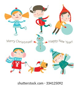 Winter holidays. Vector set. Cute kids are playing winter games.