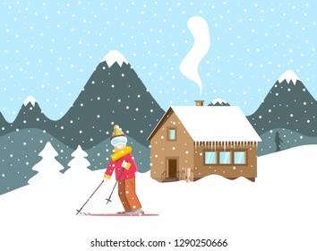 Winter Holliday Landscape Snow with Mountain Wooden Cottage and Skier