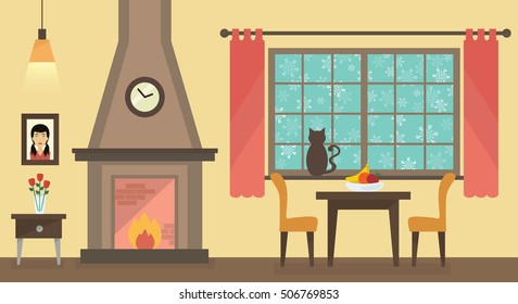 Winter home interior with fireplace and furniture. Cat silhouette looking at snowy sky. Chair,table,fireplace,house furniture vectors.
