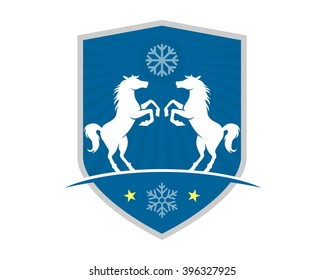 winter horses shield stallion mustang mare ranch image