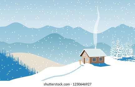 Winter with house, distant mountains, skies, snow, Snow flurry, sun light, chimney smoke, forest, ski run