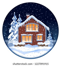 Winter house at night in the woods. Illustration for the new year and Christmas. Vector