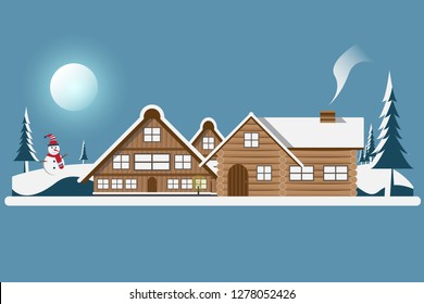 Winter with house and pine on mountain on blue sky and sun background.