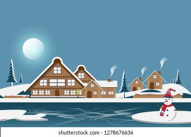 Winter with house and snowman on blue sky background.
