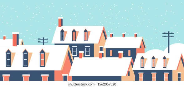 winter houses with snow on roofs snowy village street merry christmas happy new year greeting card flat horizontal closeup vector illustration