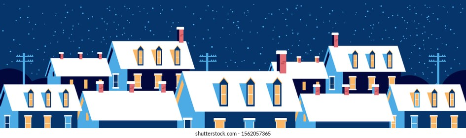winter houses with snow on roofs night snowy village street merry christmas happy new year greeting card flat horizontal banner vector illustration