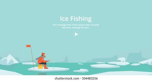 Winter. Ice fishing