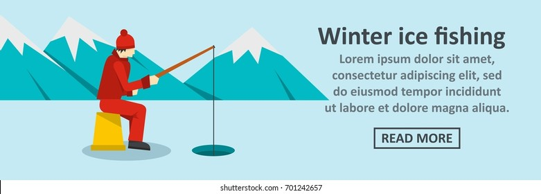 Winter ice fishing banner horizontal concept. Flat illustration of winter ice fishing banner horizontal vector concept for web
