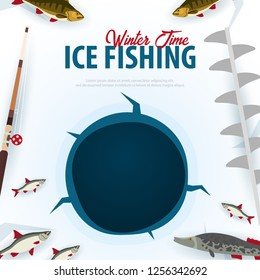 Winter Ice Fishing on the lake. Banner with fish, rod and ice screw. Vector Flat illustration