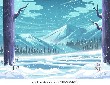 Winter ice rink among the snow-capped turquoise mountains. For print on demand, advertisements and commercials, magazines and newspapers, book covers.