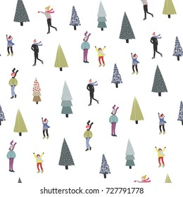 Winter ice skating and christmas trees. Vector seamless pattern