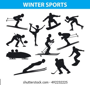Winter Ice Snow Sports SIlhouettes Set including cross country, freestyle skiing, snowboarding, speed skating, ski jumping, curling and figure skating, ice hockey, bobsleigh