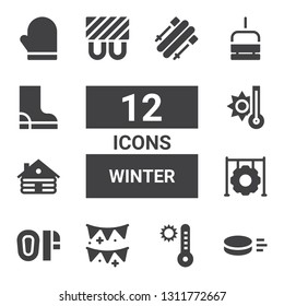 winter icon set. Collection of 12 filled winter icons included Puck, Temperature, Garlands, Mittens, Tire, Cabin, Heating, Chairlift, Boot, Mitten, Skii
