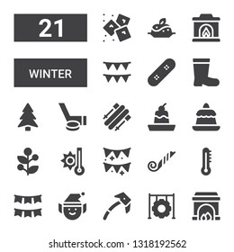 winter icon set. Collection of 21 filled winter icons included Fireplace, Tire, Ice axe, Elf, Garland, Thermometer, Blower, Garlands, Temperature, Holly, Pudding, Skii, Hockey