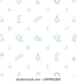 winter icons pattern seamless white background. Included editable line hockey puck, pine tree, garland, woman boots, boot, Christmas tree icons. winter icons for web and mobile.