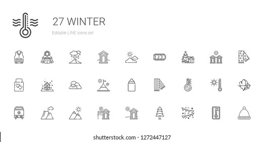 winter icons set. Collection of winter with garlands, pine, cabin, mountain, ice, thermometer, scarf, feeder, snowing, wedding gift, christmas tree. Editable and scalable winter icons.