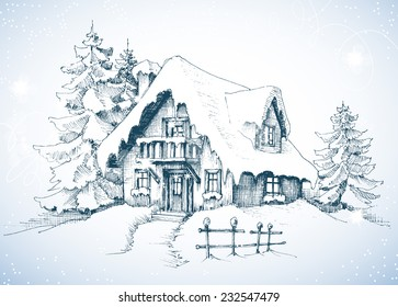 Christmas Scene Drawing.Christmas Scene Sketch Images Stock Photos Vectors